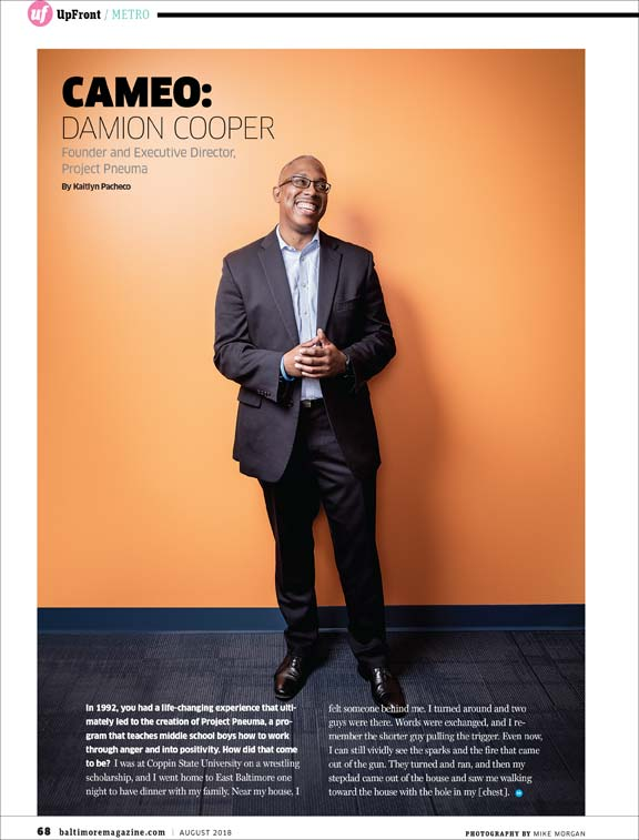Baltimore Magazine tear sheet featuring Damion Cooper