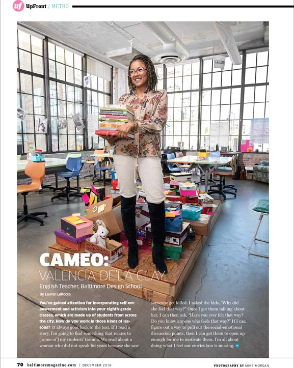 Baltimore Magazine tear sheet featuring Valencia De