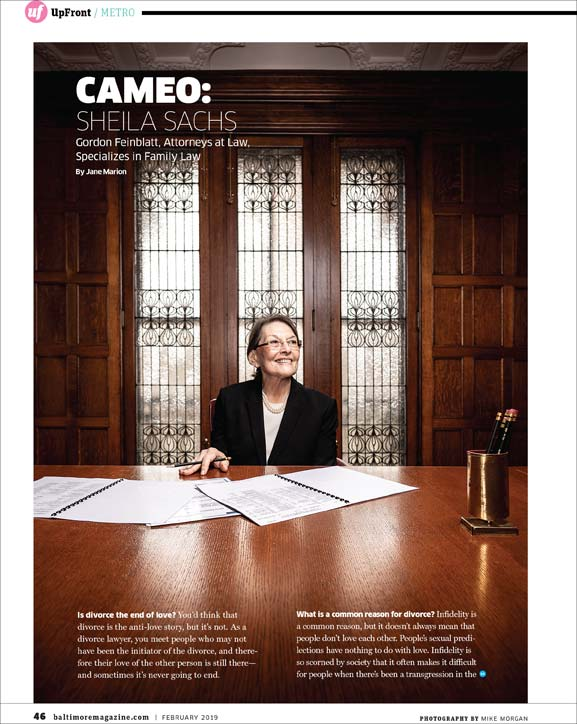 Baltimore Magazine tear sheet featuring attorney Sheila Sachs