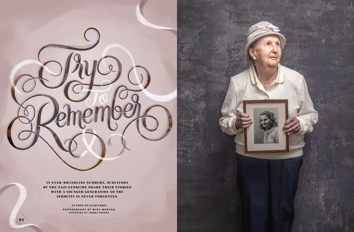 Baltimore Magazine Spread featuring holocaust survivor Goldie Kalib