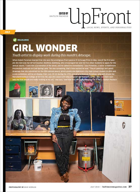 Baltimore Magazine tear sheet featuring Kailah Foreman