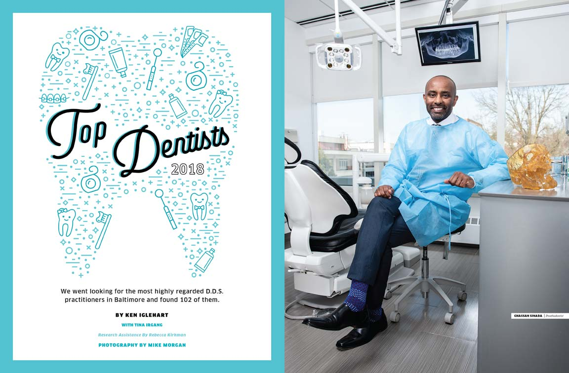 Baltimore Magazine Top Dentists spread featuring Ghassan Senada