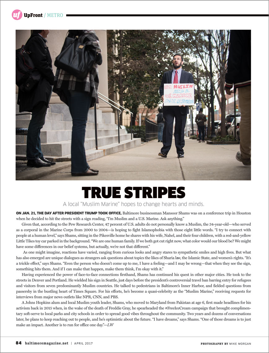 Baltimore Magazine tear sheet featuring Mansoor Shams