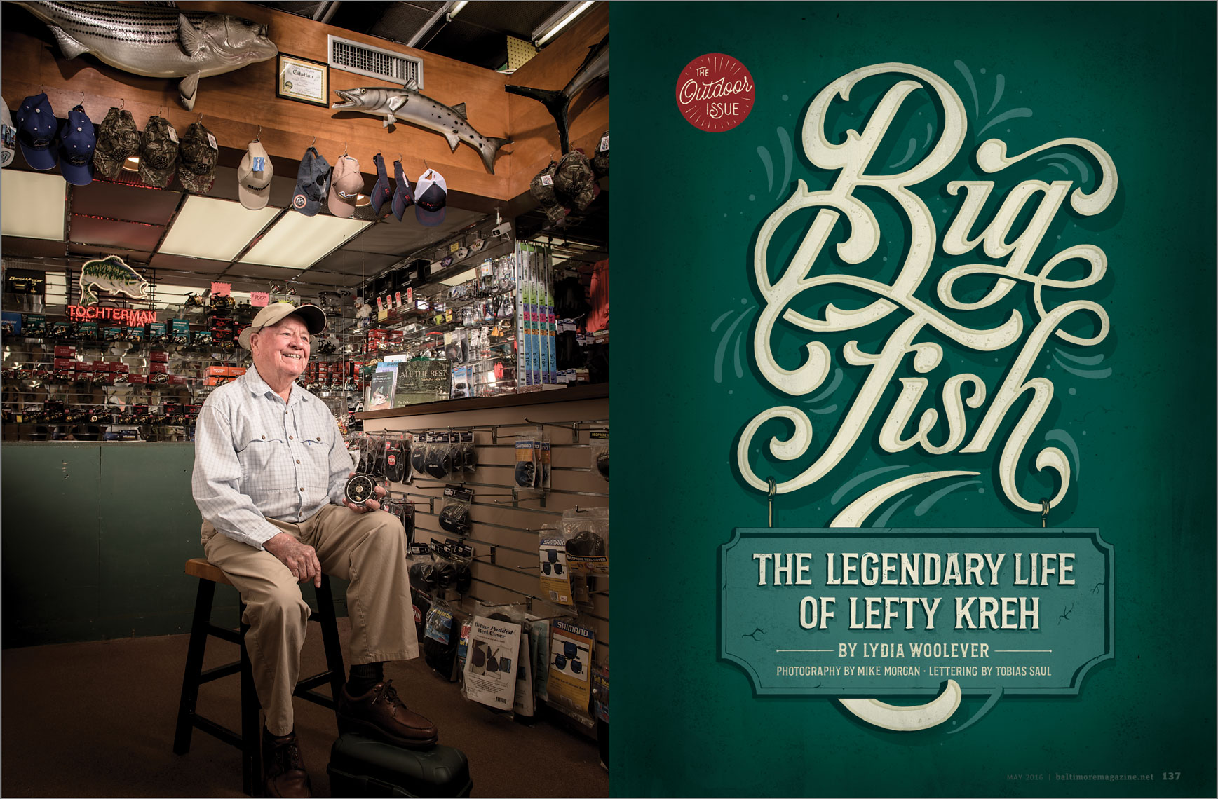 Baltimore Magazine tear sheet featuring Lefty Kreh