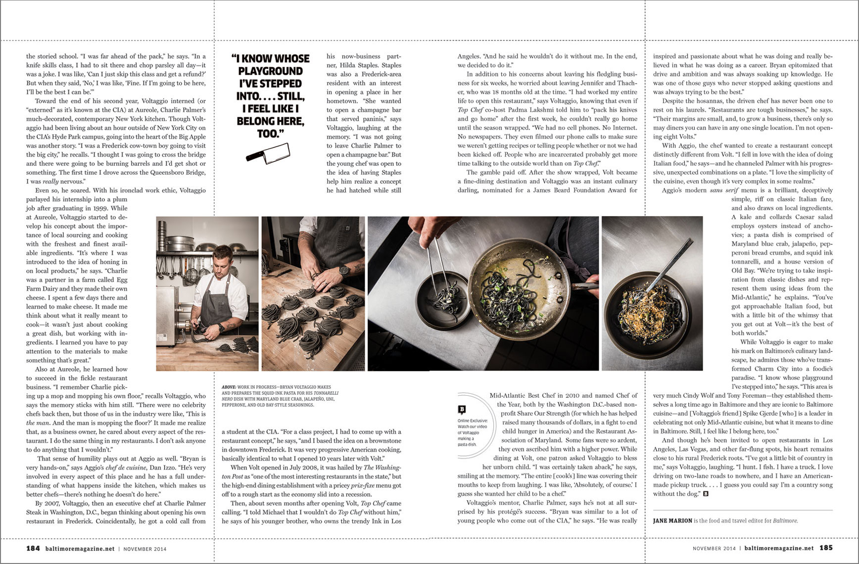 Baltimore Magazine spread featuring chef Bryan Voltaggio