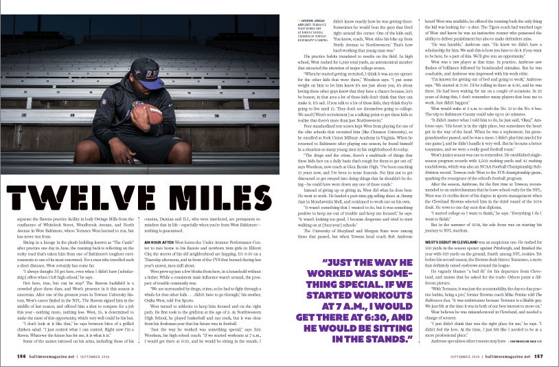 Baltimore Magazine spread featuring Baltimore Ravens running back Terrance West