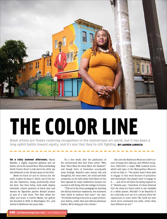 Baltimore Magazine tear sheet featuring artist Lady Brion