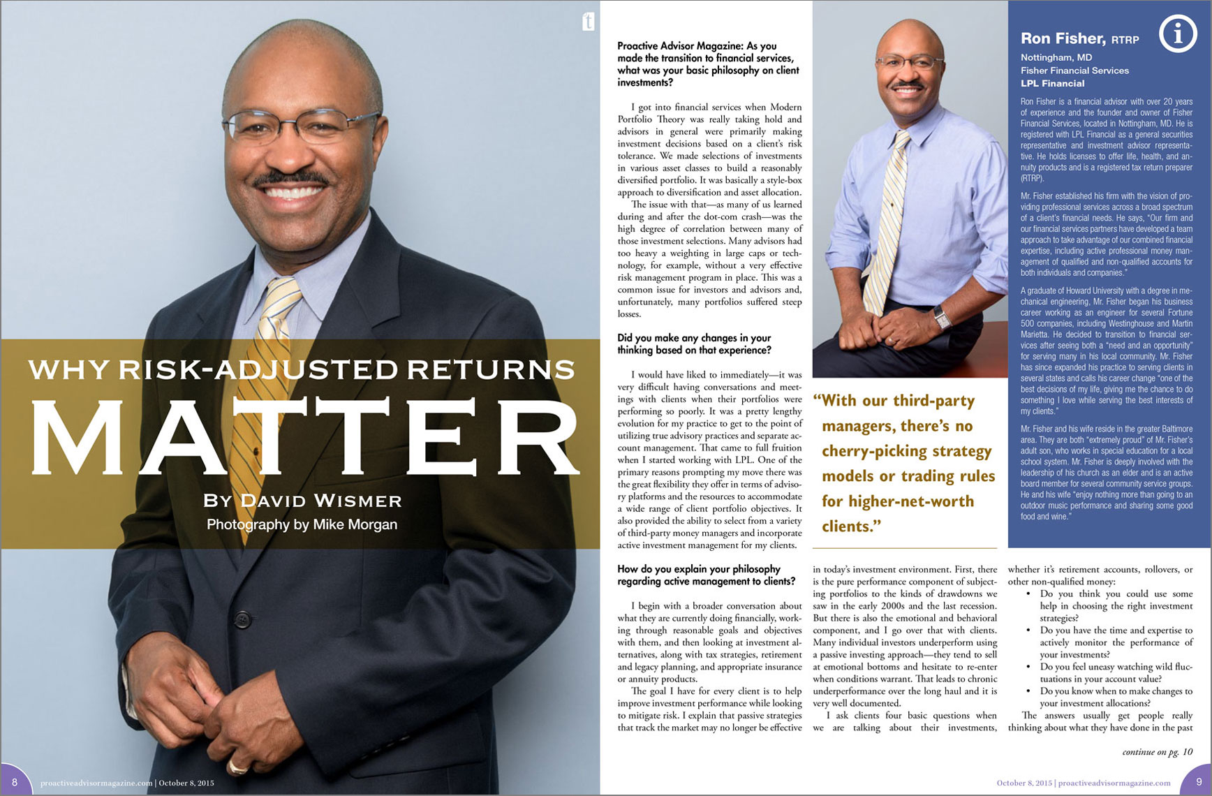 Proactive Advisor Magazine spread featuring Ron Fisher