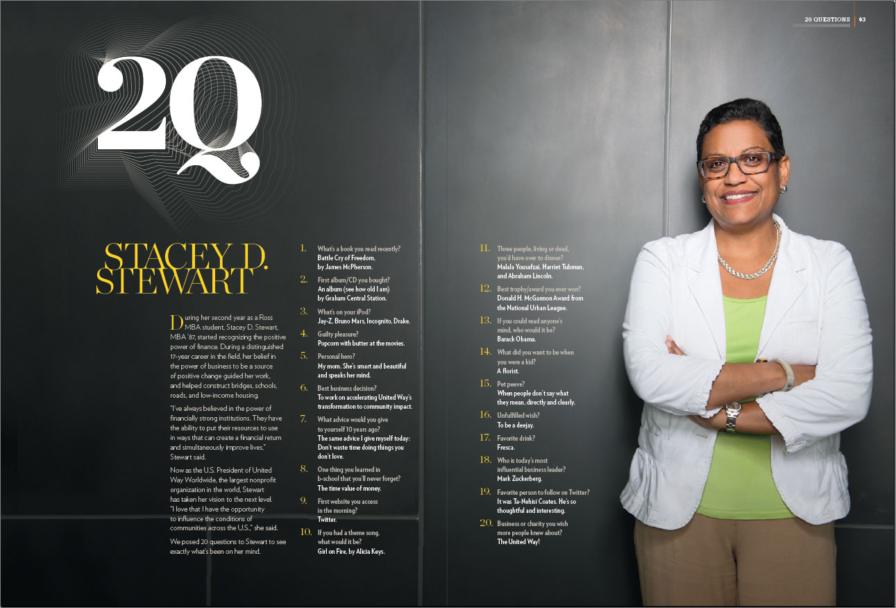 Dividend Magazine spread featuring March of Dimes CEO Stacey D Stewart