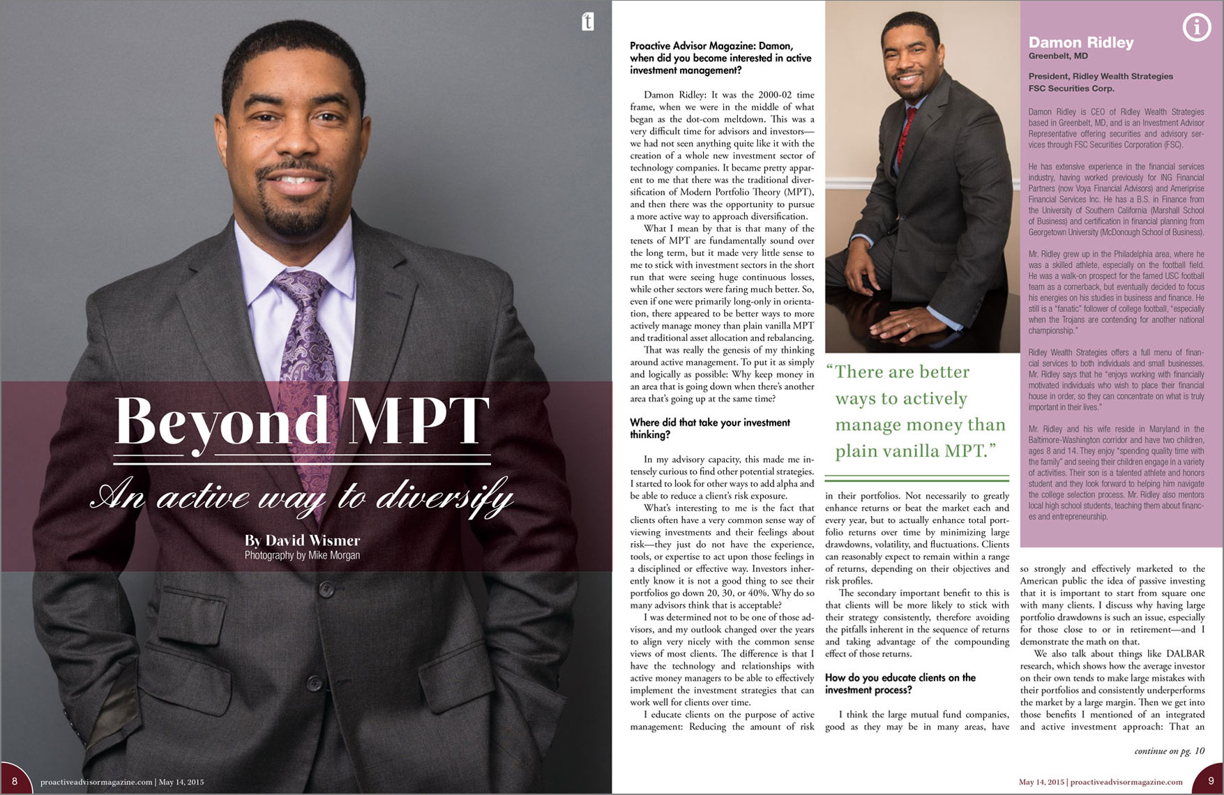 Proactive Advisor Magazine spread featuring Damon Ridley