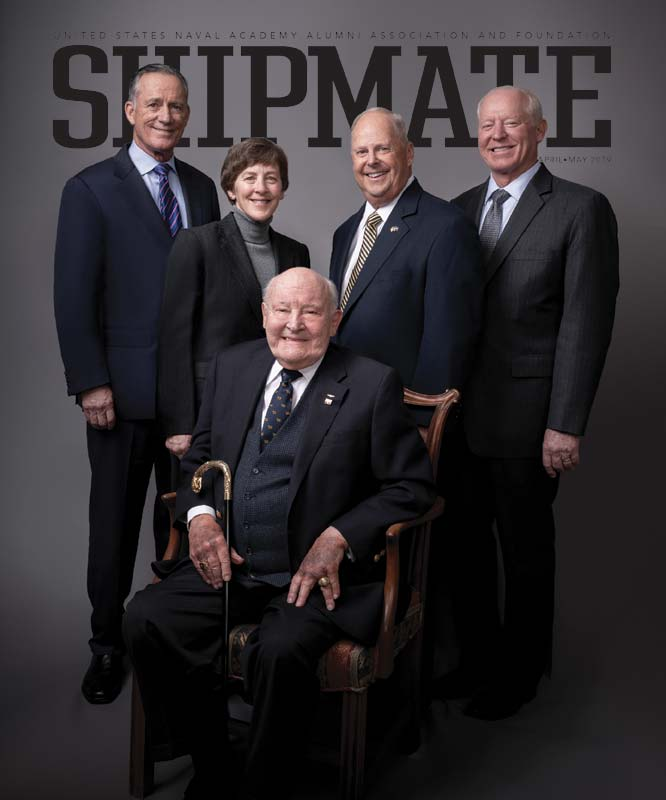 Shipmate Magazine cover featuring alumni hall of fame members