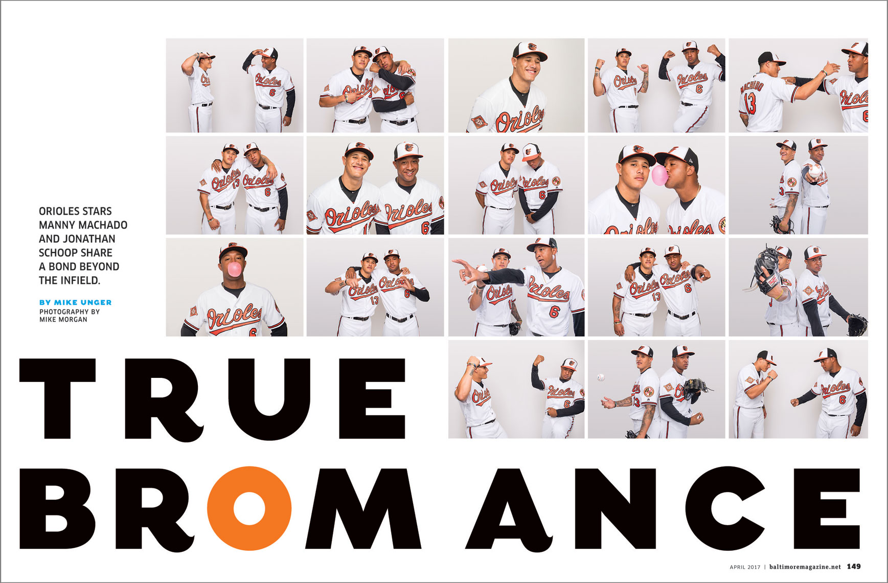 Baltimore Magazine spread featuring Baltimore Orioles Manny Machado and Jonathan Schoop