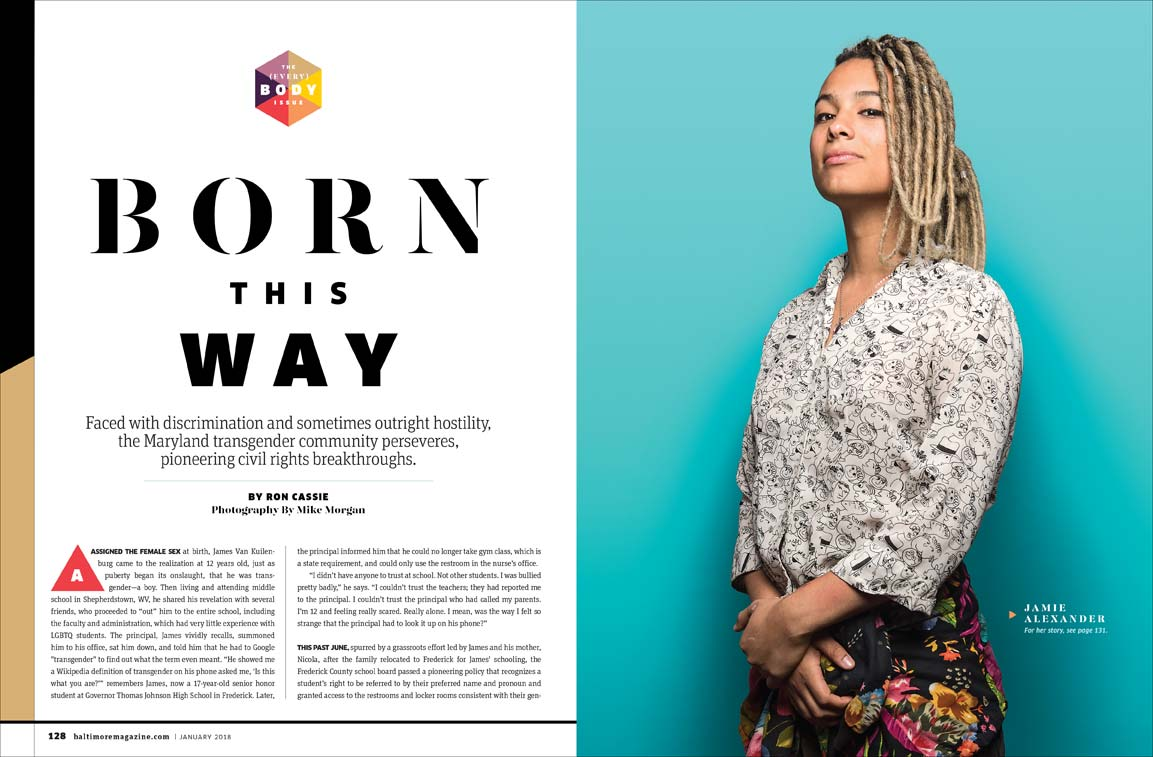 Trans activist and artist Jamie Grace Alexander in a Baltimore Magazine spread