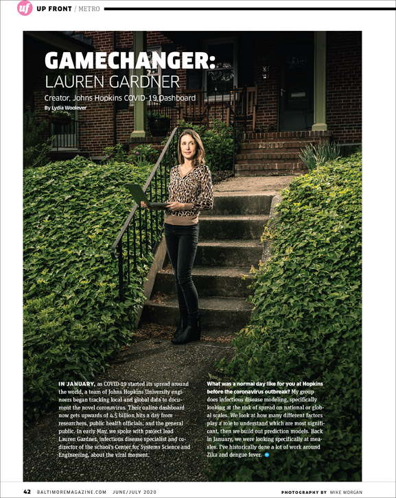 Baltimore Magazine tear sheet featuring COVID-19 dashboard founder Lauren Gardner