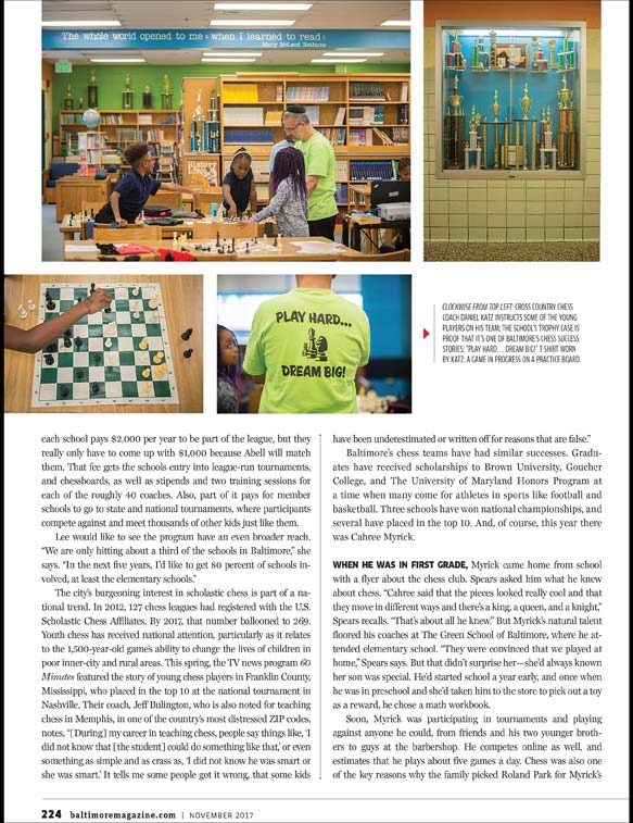 Baltimore Magazine spread featuring Baltimore City Schools chess champions