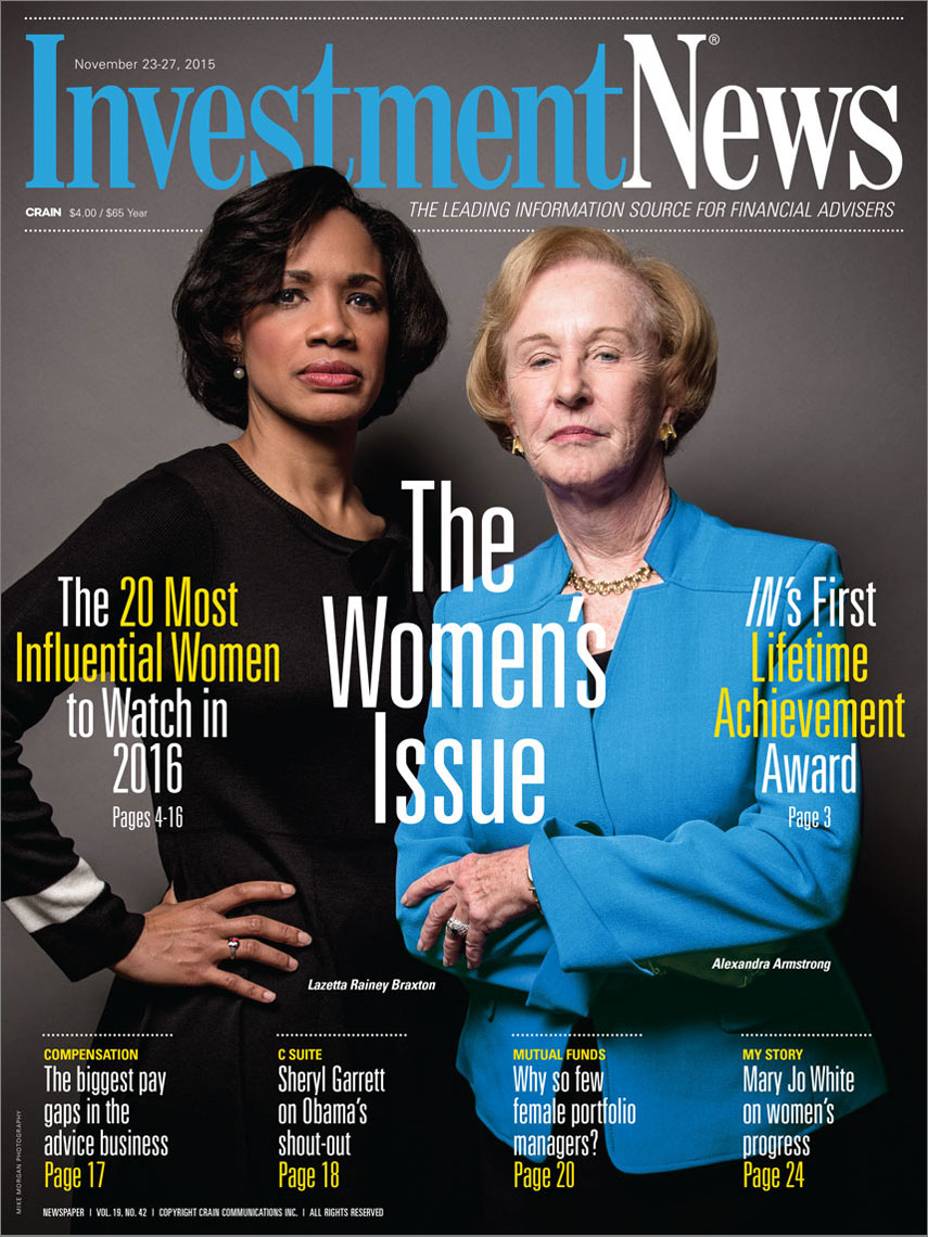 Investment News Magazine cover featuring Lazetta Rainey Braxton and Alexandra Armstrong