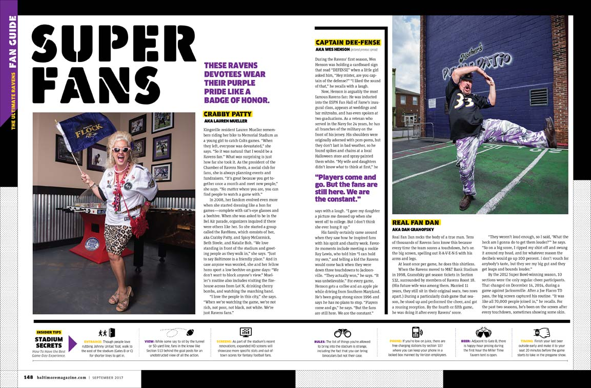 Baltimore Magazine spread featuring Ravens superfans