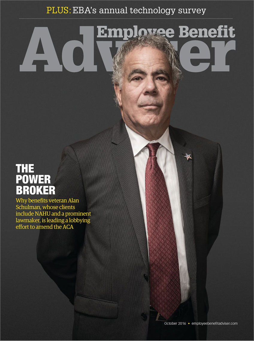 Employee Benefit Advisor Magazine cover featuring Alan Schulman