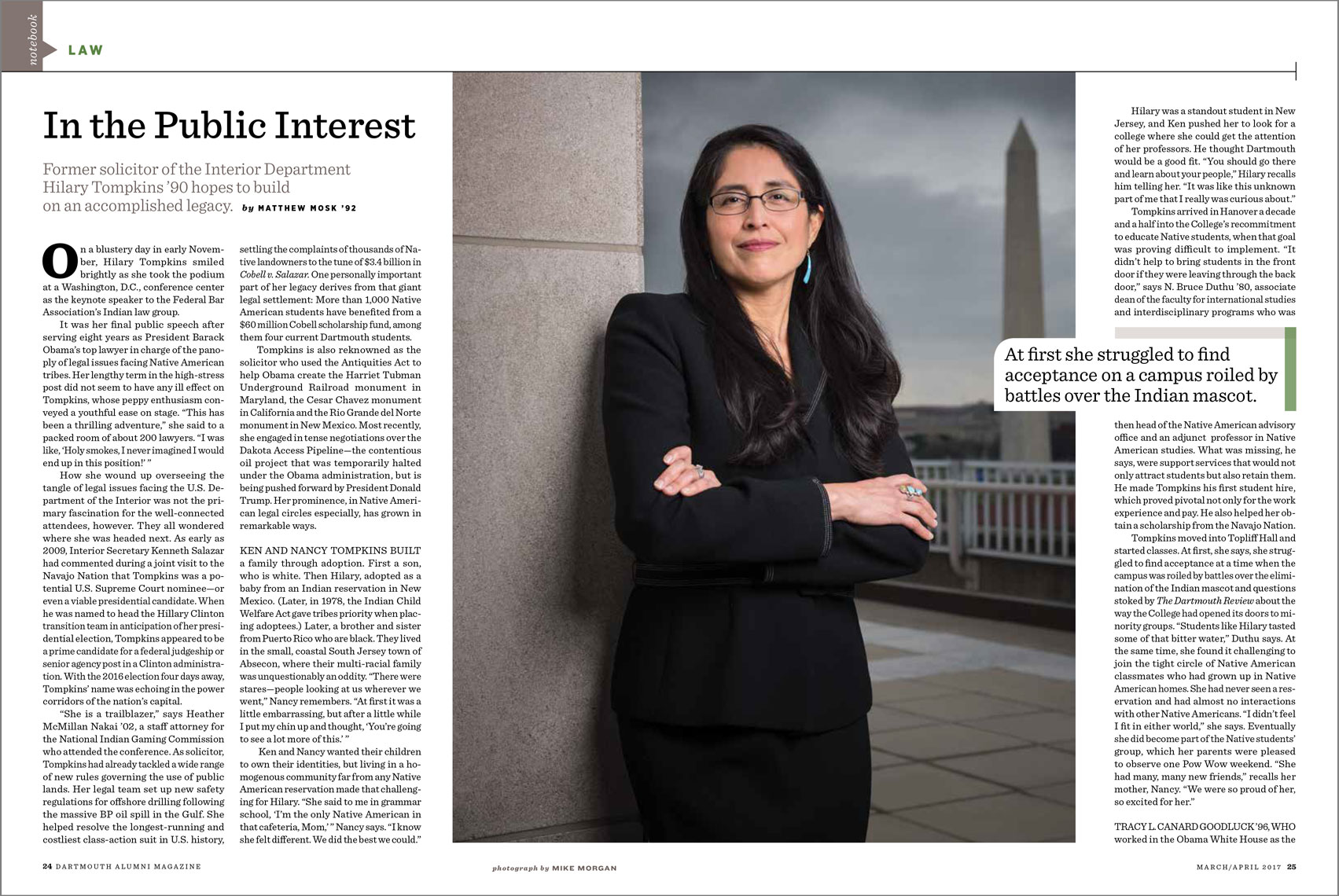 Dartmouth Alumni Magazine spread featuring Hilary Tompkins