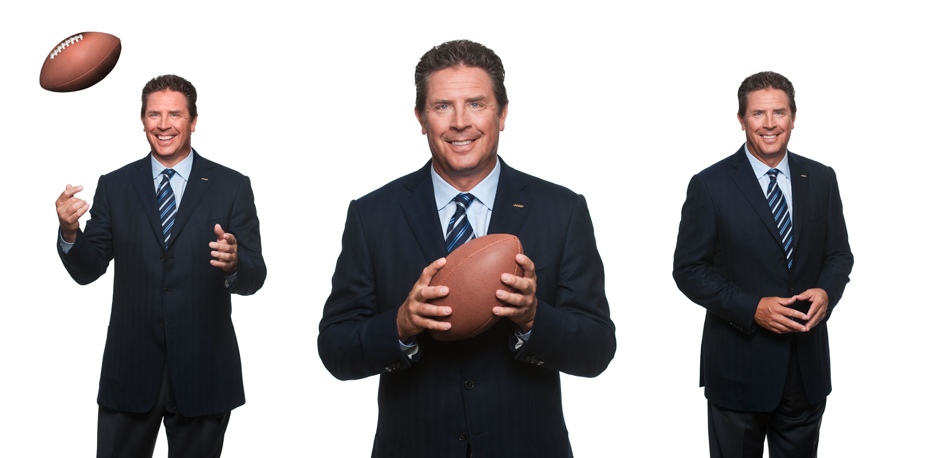 Dan Marino smiling with a football in front a white background