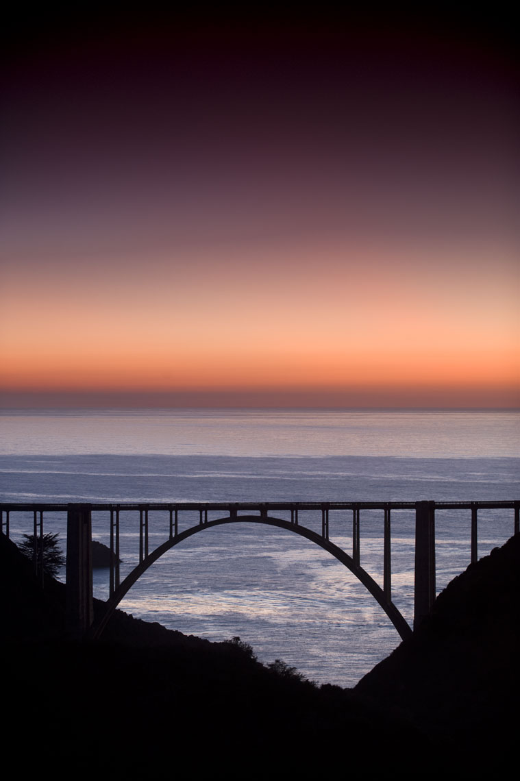Bixby Bridge silhouetted against the Pacific Ocean in Big Sur, California