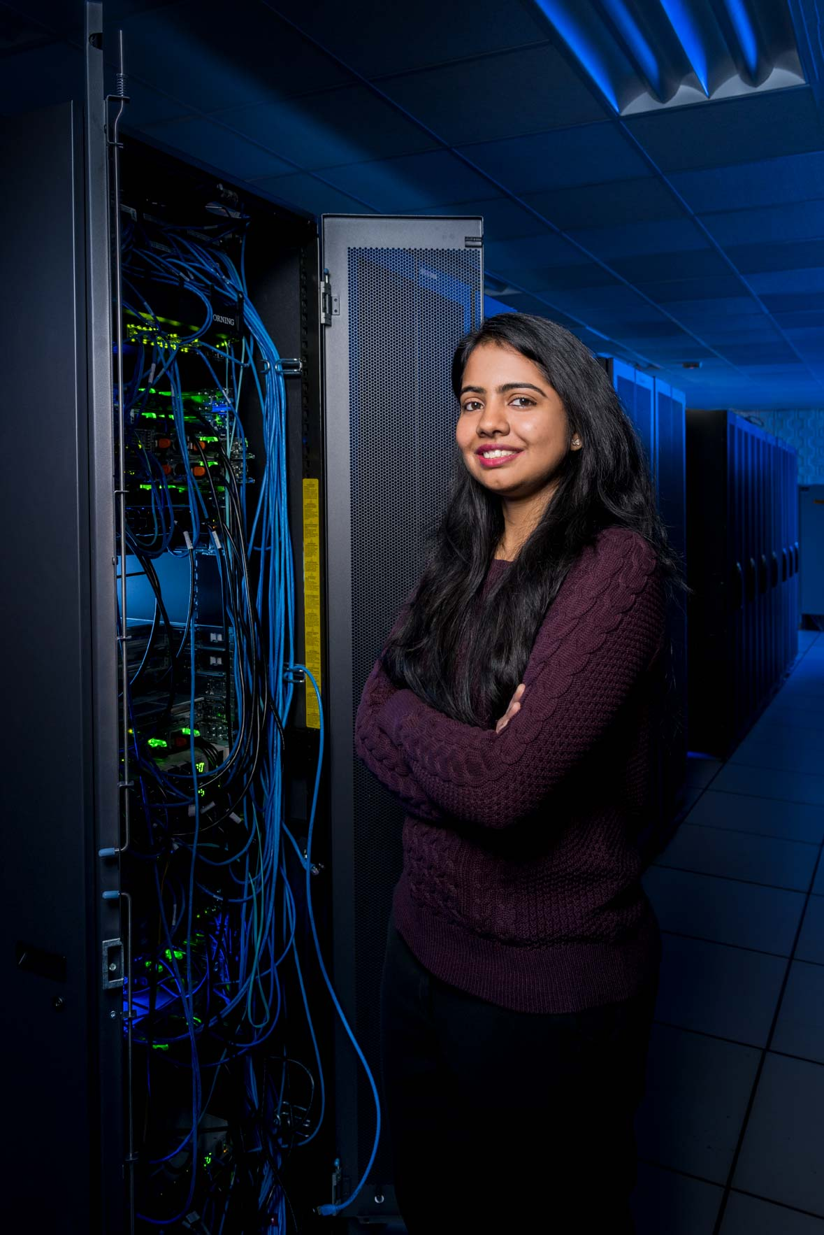 Cyber security students in the A.V. Williams Server Room, by university photographer