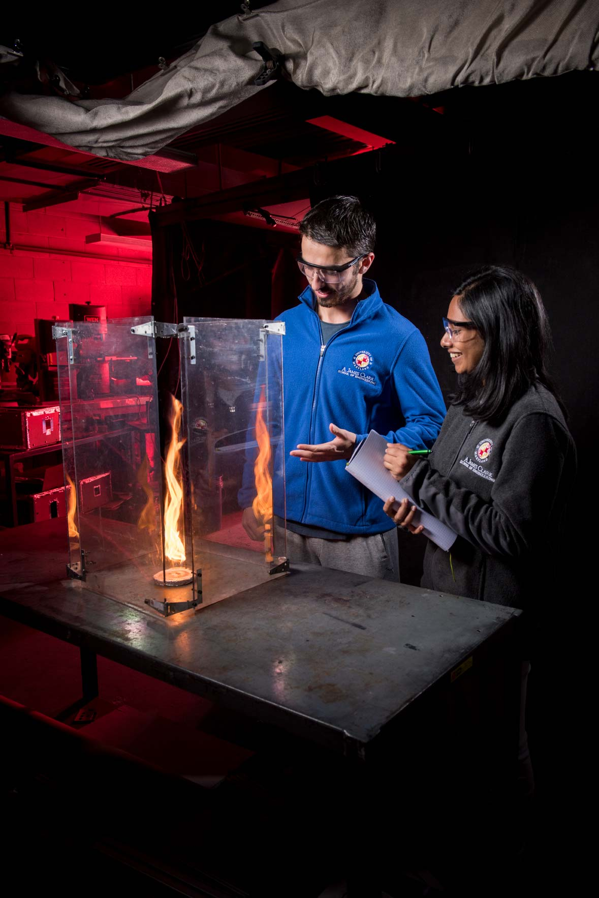 Fire Lab students, for OAEE, by higher ed photographer Mike Morgan