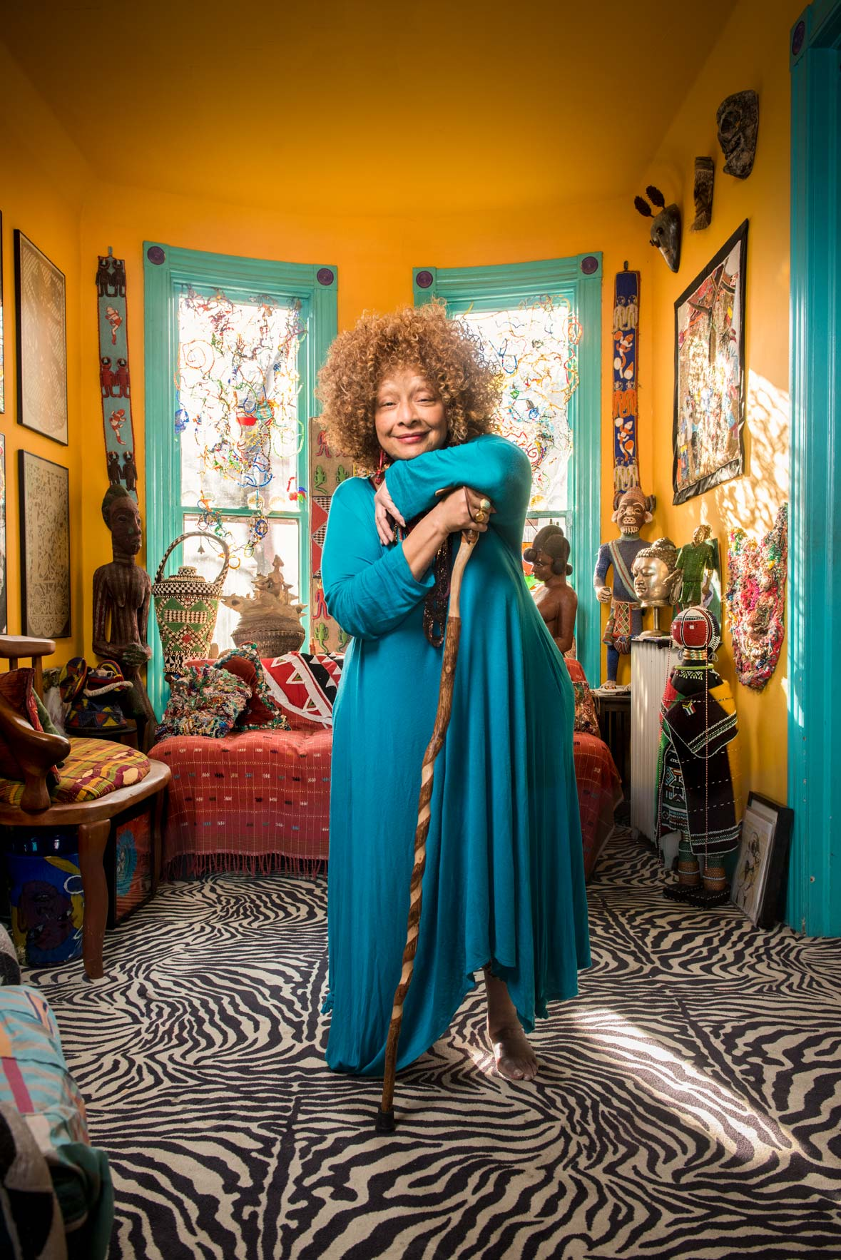 Artist and MacArthur Genius Grant recipient, Joyce Scott, in her Baltimore living room
